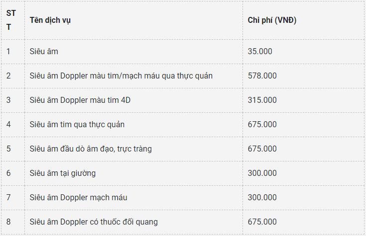Bảng giá siêu âm