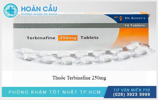 Terbinafine 250mg có tên quốc tế là Terbinafine hydrochloride