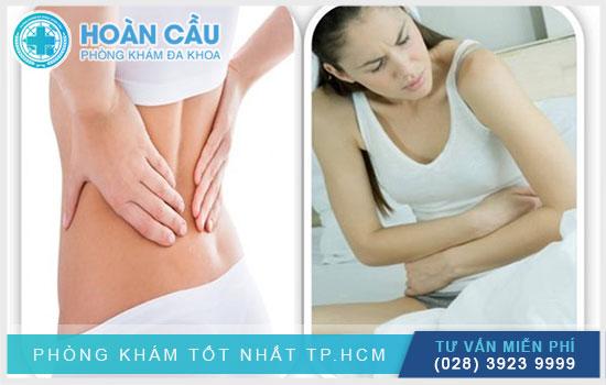Các cơn đau ở vùng lưng và bụng đặc trưng